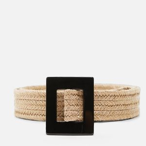 Zara Tans Jute Belt Black Square Buckle Size 34